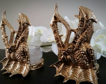 Golden dragon tealight candle holders!