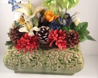 Realistic Floral Artificial Arrangement with Pine Cones in Vivid Green Planter- 486