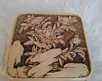 Trinket box asian carved box lacquer carved box faux ivory