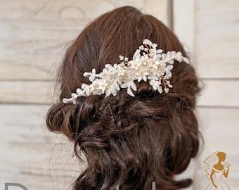 Wedding hair piece ,Bridal headpiece,Bridal  hair comb, Wedding Headpiece,Ivory Gold Lace Bridal hair piece, Bridal hair accessories- AGNES