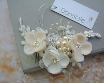 Wedding Hair comb- Bridal Hair comb-  Rustic Bridal Hair piece- Wedding hair piece-Bridal hair accessory -Wedding headpiece-PAOLA