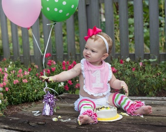 First birthday ruffle bib embroidered 1 one pink and white girls