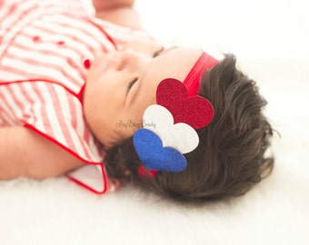 July 4th Fourth patriotic red white and blue glittery heart headband