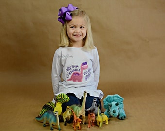 Silly boys dinosaurs are for girls embroidered pink purple shirt