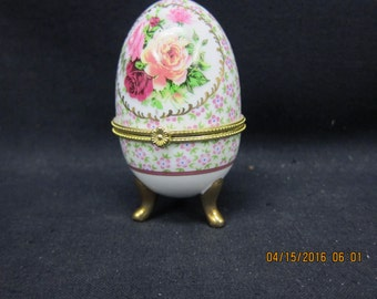 Egg Shaped Trinket Box with Floral Design