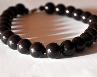 Vintage Chocolate Brown Galalith Necklace - Mid Century Necklace - Retro Galalith Beaded Necklace