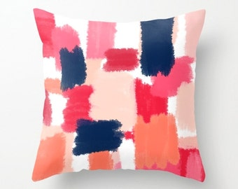 Throw Pillow Cover, Cushion Cover, Abstract Art, Navy Coral Pink Red Peach (A14) Decorative Pillow Cover Euro Sham Cover