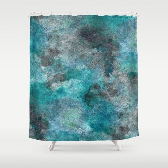 Teal Shower Curtain Bath Curtain Teal Turquoise Black Aqua