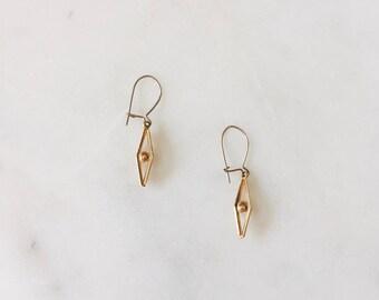 1980's Dead Stock Delicate Minimal Gold Drop Dangle Earrings Modern