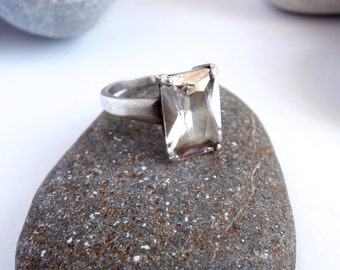 Cubic Zirconia Ring - Silver - Large Stone Ring