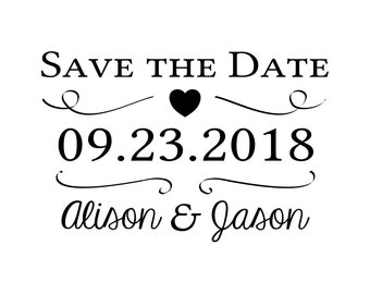 "Elegant Wedding Stamp, custom save the date stamp, wedding favours, invitations. announcement, 2""x3"" (cstd19)"