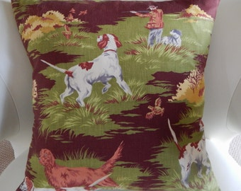 "Mid Century Barkcloth Pillow Cover ""Hunt Club"" 20"" Vintage Dogs Duck Wildlife Den"