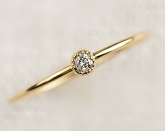 Dainty diamond solitaire ring, delicate simple tiny diamond stack ring / engagement, 2mm, 14k 18k yellow rose white gold, dal-r101-2mm-dia