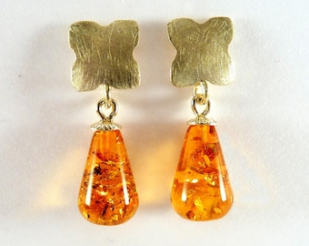 Earrings, yellow gold, earrings Gold 14 Kt., AMBER drop, earrings very light for each day - handforged by SILVER LOUNGE