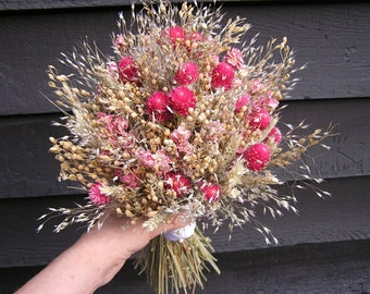 Dried Bridal Bouquet, Wedding Rustic Bouquet, Flowers for Bride, Bridesmaids Bouquets with Hot Pink and Pink Dried Flowers, Field Wedding