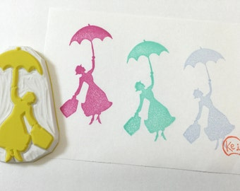 MARY POPPINS SILHOUETTE - Hand Carved Rubber Stamps/Background Stamps/Musical