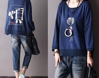 Loose Big yards tops,cotton coat, black tops,blue tops,gray tops,black  T-shirt,Leisure T-shirt ,women tops - Women Clothing F753