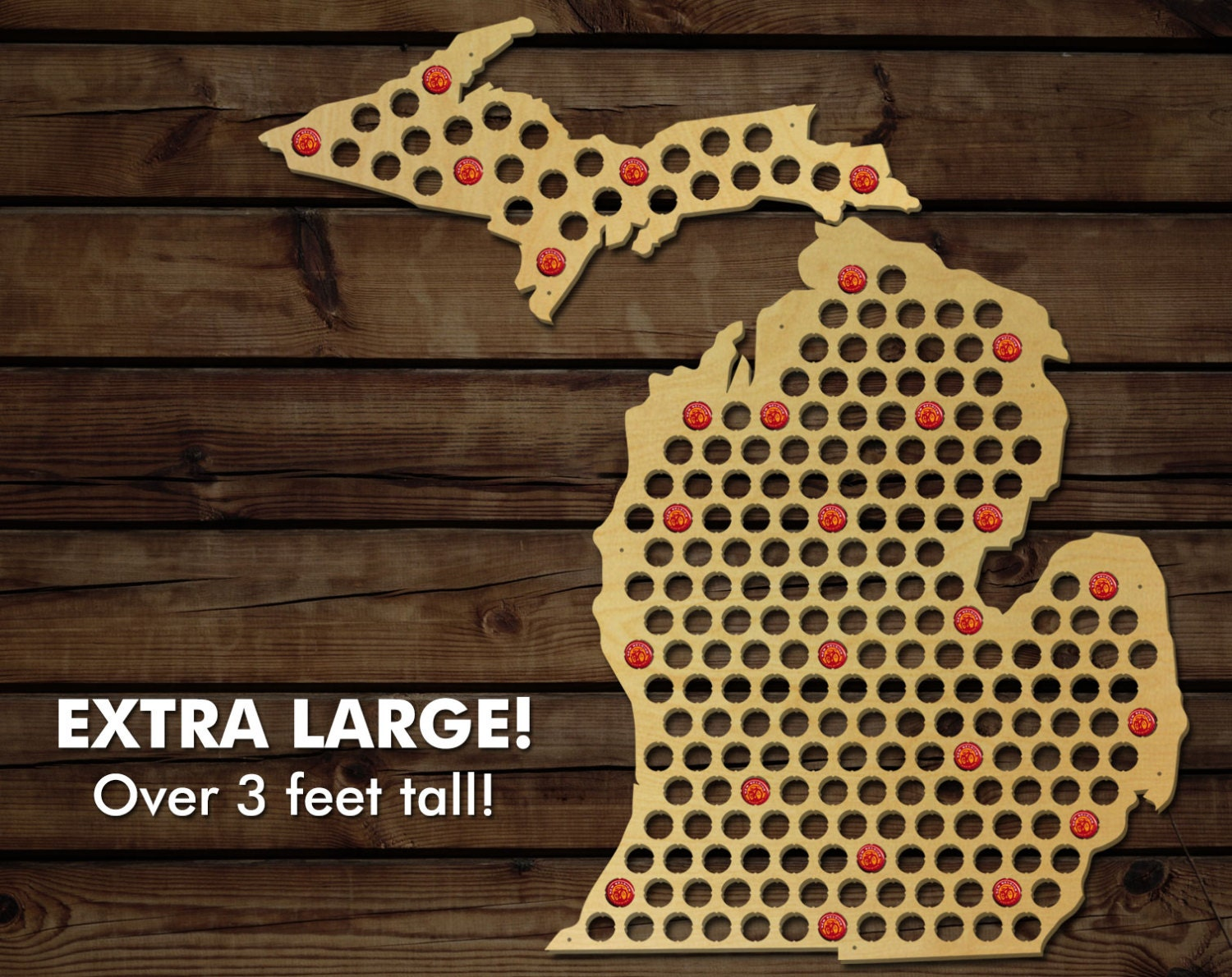 Michigan Beer Cap Map XL Large Beer Cap Holder Extra Large