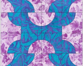 Falling Timbers / Drunkard's Path Block Paper Templates Quilting Block Pattern PDF