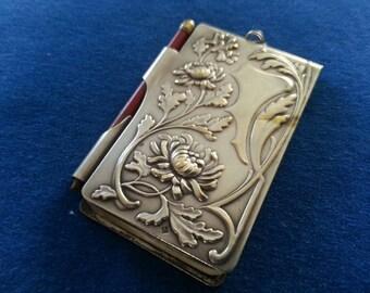 Antique Aide Memoire, Silver Plated Aide Memoire Floral Design