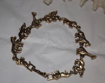 African Safari Animal Gold Charm Bracelet