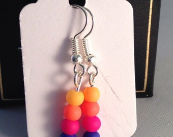 Neon stack drop earrings on silver plated fishhook earring wires