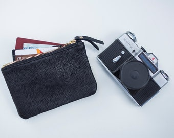 Black zipped wallet. Small Leather Pouch. Leather Makeup bag. Leather Cosmetic Bag. Zipped leather purse