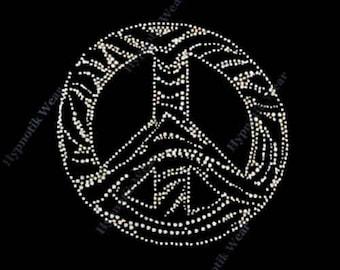 "Rhinestone Transfer 4X4 "" Zebra Peace Sign "" Iron On , Hot fix, SM"