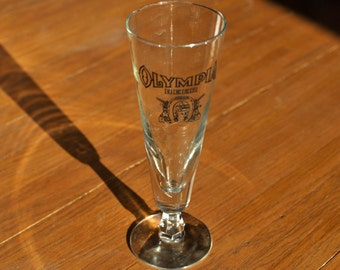 Vintage Olympia Beer Good Luck Horse Shoe Logo Fluted Beer Glass