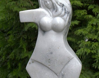 Marble sculpture white stone Abstract carving contemporary act original modern art