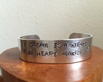 Handstamped custom Metal cuff bracelet