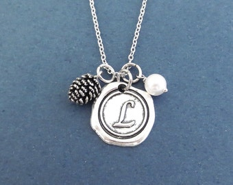 Personalized, Wax seal, Letter, Initial, White, Pearl, Pine cone, Silver, Necklace, Custom, Initial, Pine, Cone, Birthstone, Gift, Jewelry