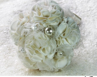 Bridal Brooch Bouquet, Ivory  Bridal Bouquet, Wedding Bouquet, Bridal Accessories, Bridesmaids Flowers