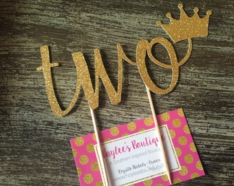 Two Cake Topper - Second Birthday Cake Topper - Birthday Cake Topper - Glitter - Gold Cake Topper - Second Birthday - Birthday Decorations