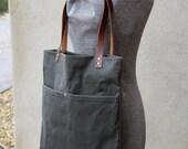 mjohnson - dark olive waxed canvas tote - waxed canvas tote - dark olive waxed canvas purse w/adjustable strap