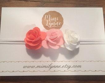 Fabric Flower Headband-Coral,Pink,Ivory-Baby Headband-Newborn Headband