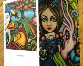 "Surreal art blank greeting cards by Meg Hein. set of 5 ""Jane and bird girl"""