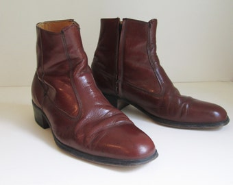 70's ankle Beatle boots /  Men's Hanover Brown Leather side zip over the ankle boots / Embassy Collection size 8D