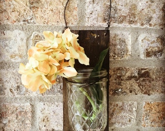Barn Wood Jelly Jar Hanging Vase