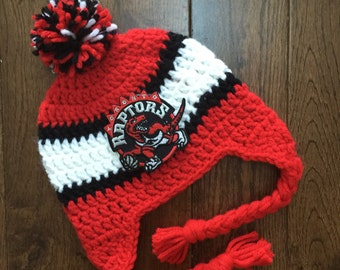 Handmade Toronto Raptors Crochet Hat with NBA Patch/ Photo Prop/ Basketball (newborn-adult: made to order)