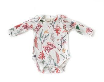 organic cotton baby bodysuit, baby girls onesie, organic baby onesie, organic baby clothes, long sleeve bodysuit, floral bodysuit