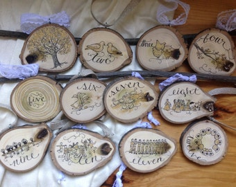 12 Days of Christmas Tree Slice Christmas Ornaments (Set of 12) Large & Double-sided set / Gold Holiday / Natural Wood / Rustic Decor
