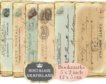 Vintage Postcards Bookmarks Instant Download digital collage sheet E194 Vintage Paper Ephemera