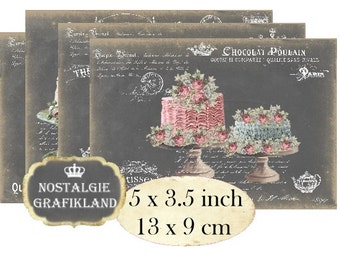 Chalkboard Cakes French Patisserie Cupcakes Bakery Wedding Cake Instant Download digital collage sheet P113