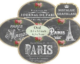 Chalkboard Paris Oval 3.5 x 2.5 inch French Ephemera Eiffel Tower Journal Instant Download digital collage sheet O127 label etiquette