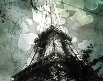 Eiffel Tower Decor, Evening Dark, green, Eiffel Tower Art Print, Monochrome, Gothic Inspired, with large hearts, Paris, Paris Photography