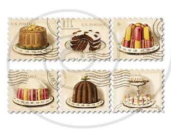 Food stamps. Old postage stamps. Vintage digital stamps. Postage stamp art. Digital collage sheet. Cakes #1. Instant download PNG JPEG PDF