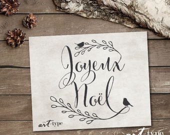 Joyeux Noel, Merry Christmas Print INSTANT DOWNLOAD 8x10 Printable Holiday Wall Art, Christmas Art Quote, Christmas Decor, Noel, French, DIY