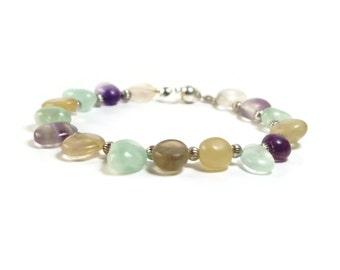 Orange bracelet, green bracelet, purple bracelet, yellow bracelet, rainbow bracelet, fluorite bracelet, gemstone bracelet, Birthday present