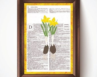 Daffodils Defined Dictionary Page Print from Pastel Drawing